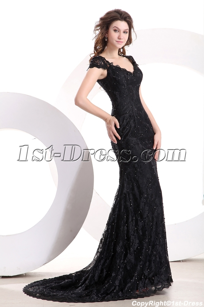 Short Sleeves Modest Black Lace Formal Evening Dress with Train:1st ...