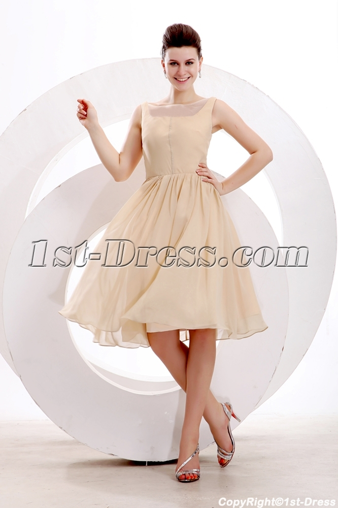 Simple Champagne Short Prom Dress For Junior1st Dress