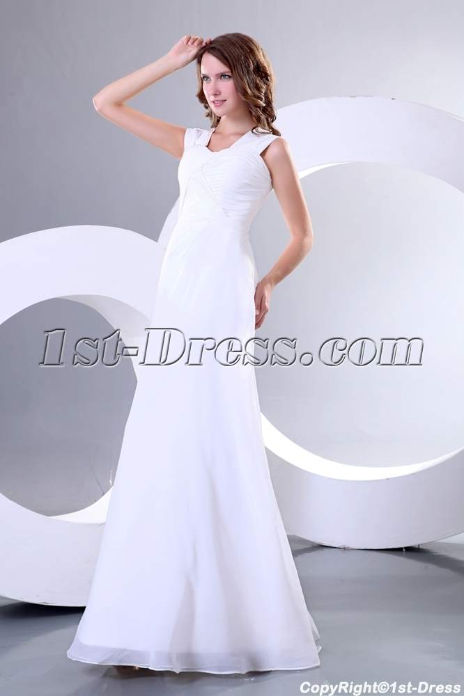 Simple Ivory Chiffon Long Second Wedding Dress For Reception 1st