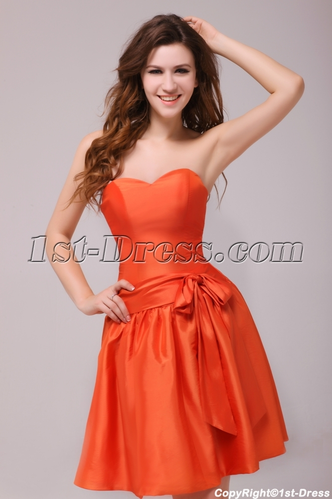 Simple Orange Sweetheart Short Homecoming Dress Discount