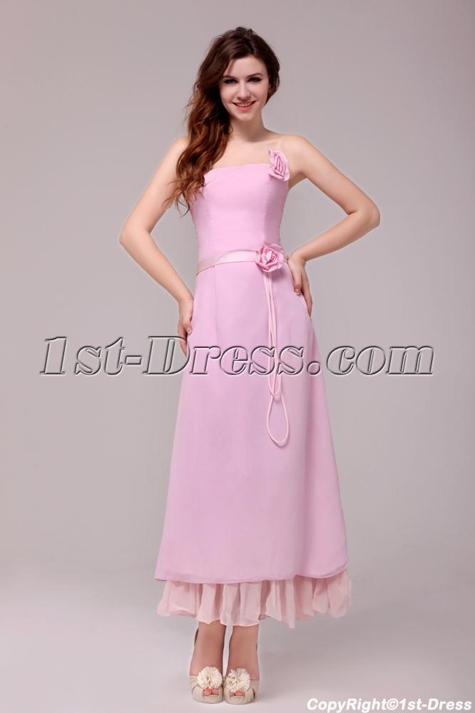 Simple strapless chiffon pink ankle length bridesmaid for Simple ankle length wedding dresses