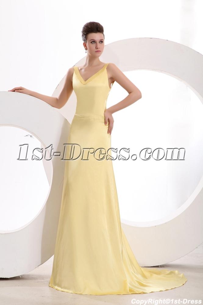 Simple Yellow Backless Satin 2014 Prom Dress with Train 1st-dress.com 54d90f17c