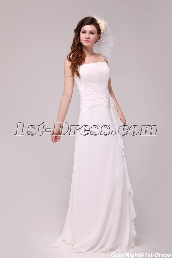 Spaghetti straps casual wedding dress for beach wedding for Casual flower girl dresses for beach wedding