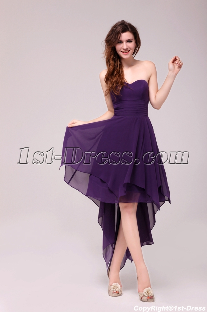 Stunning Purple High-low Prom Dress with Irregular Skirt ...