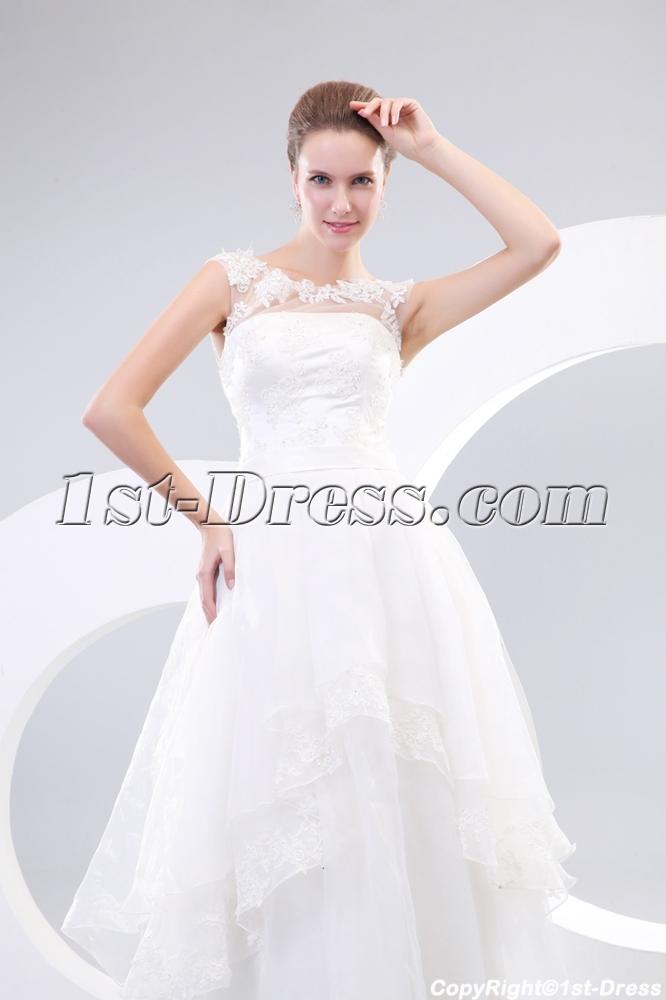 bda0056b77 Summer Illusion Neckline Casual Wedding Dresses