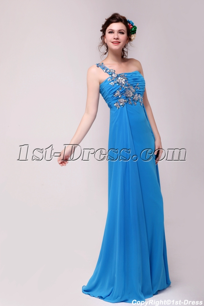 Traditional Blue One Shoulder Plus Size Prom Dresses for 2012:1st ...
