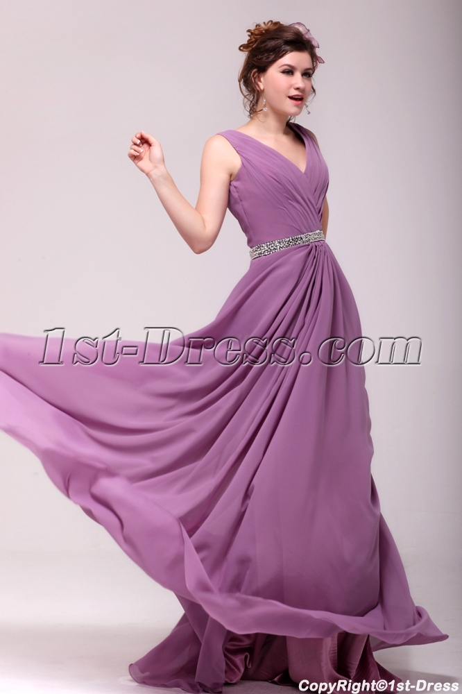 Vintage Lilac Chiffon V Neckline Plus Size Party Dress1st Dress