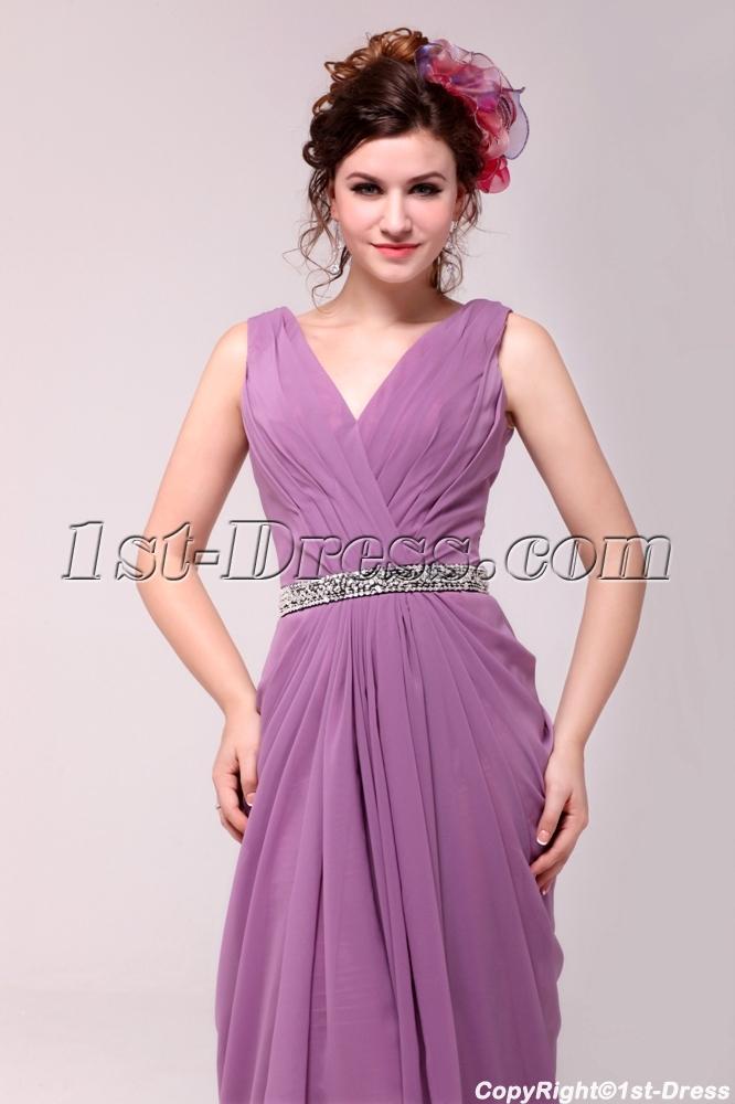 Vintage Lilac Chiffon V Neckline Plus Size Party Dress1st Dress