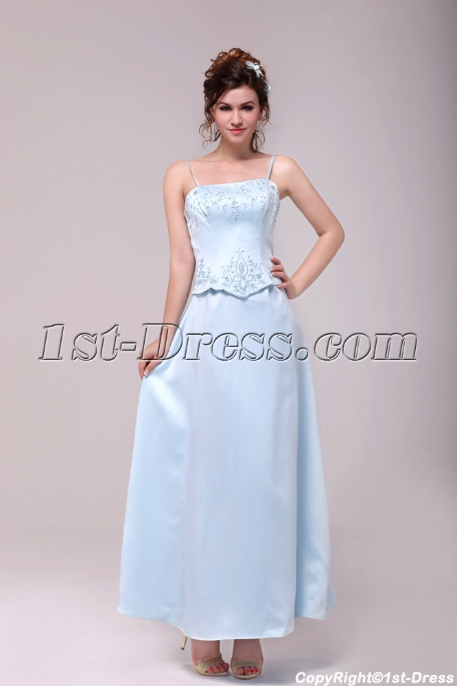 Vintage Spaghetti Straps Sky Blue Embroidery Bridesmaid Dress