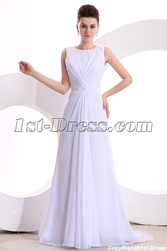 White Elegant Chiffon A-line Long Prom Dress:1st-dress.com