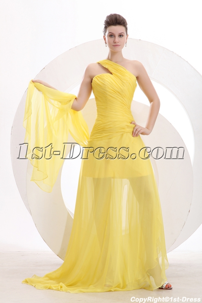 Yellow One Shoulder Spring Prom Dress 2014:1st-dress.com
