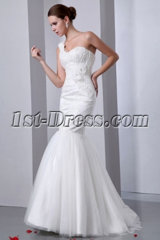 2014 Pretty One Shoulder Lace Mermaid Bridal Gowns with Corset