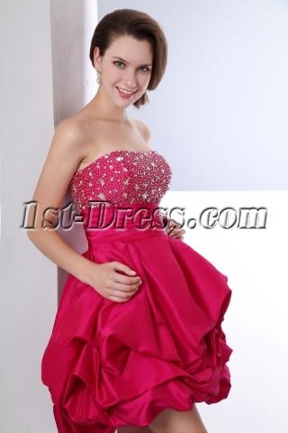 Beaded Fuchsia Taffeta Pick up Short Quinceanera Dresses for Damas
