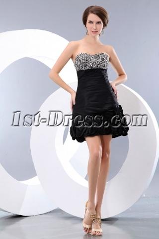 Beaded Sweetheart Taffeta Little Black Party Dress juniors