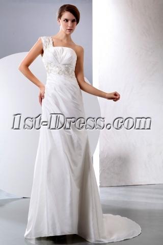 Beautiful Stylish Taffeta A-line One Shoulder Bridal Gowns