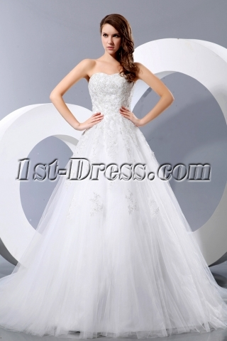 Beautiful Sweetheart Lace Ball Gown Wedding Dresses