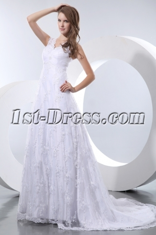 Beautiful Vintage Lace Empire Plus Size Wedding Dresses