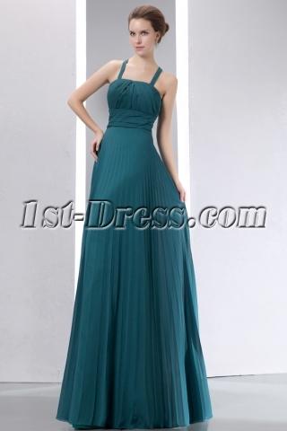 Best Teal Blue Straps Pleat Chiffon Long Prom Dress