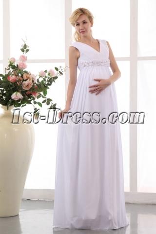 Best White Chiffon V-neckline Long Pregnant Bridal Gowns