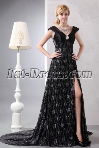 Black V-neckline Lace Slit Plus Size Evening Dress with Train