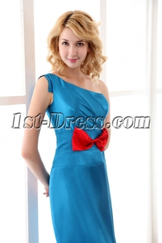 Blue One Shoulder Column Short Prom Dress with Red Bow