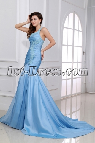 Blue One Shoulder Military Evening Gowns