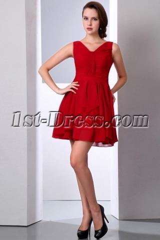 Burgundy Short Chiffon Formal Homecoming Dress