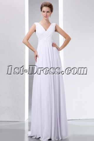 Casual Floor Length V-neckline Plus Size Bridal Gowns:1st ...