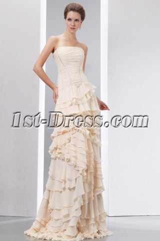 Charming Champagne Layers Sheath Military Prom Dress