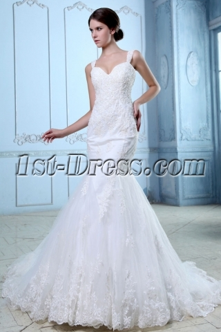 Charming Lace Fishtail Wedding Dress With Straps1st Dresscom