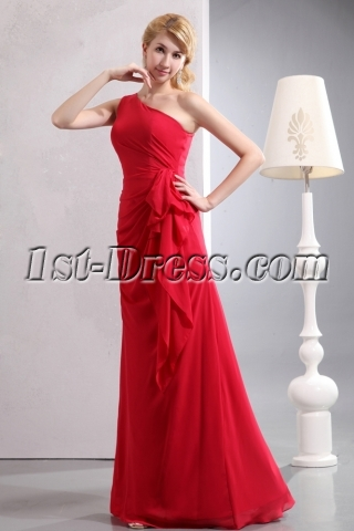 Charming Red One Shoulder Sheath Chiffon Bridesmaid Gowns