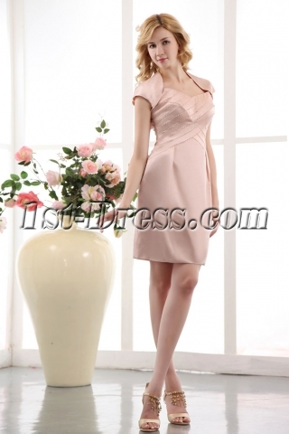 Charming Spaghetti Straps Champagne Short Mother of Brides Dress with Jacket