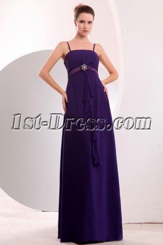Charming Spaghetti Straps Purple Full Figure Bridesmaid Gowns