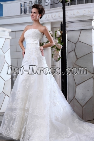 Charming Strapless A-line Lace Wedding Dresses Chicago