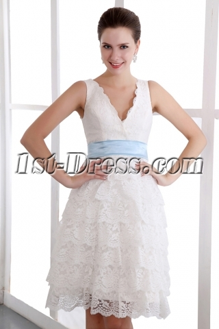 Charming V-neckline Knee Length Lace Bridal Gowns