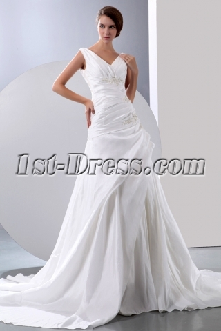 Charming V neckline Wedding Dresses for the Older Bride 4071 b 1 1389693682