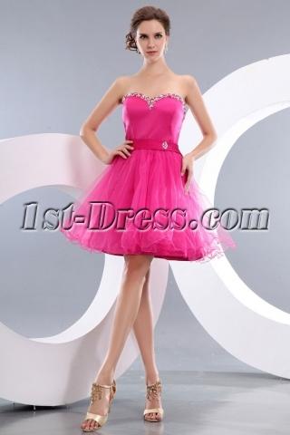 Cheap Popular Fuchsia Short Homecoming Prom Dresses