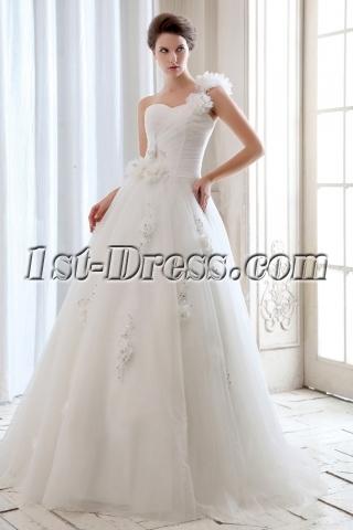 Cheap Romantic Floral One Shoulder Garden Ball Gown Wedding Dress