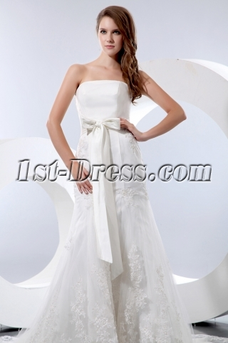 Cheap Strapless Sheath Bridal Gowns Atlanta with Bow