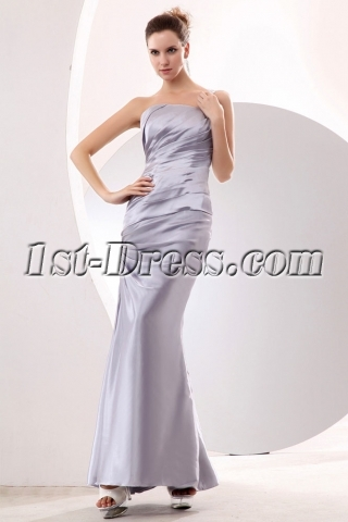 Classic One Shoulder Ankle Length Silver Sheath Evening Dress