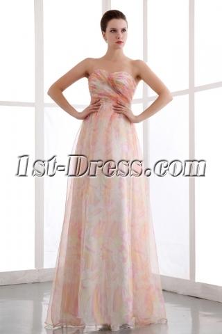 Colorful Printed Organza Long Pretty Prom Dress