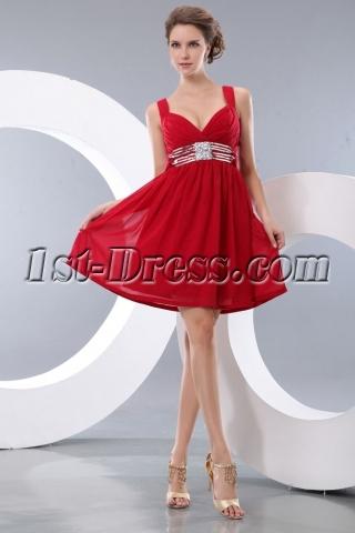Cute Wine Red Straps Chiffon Mini Party Dress