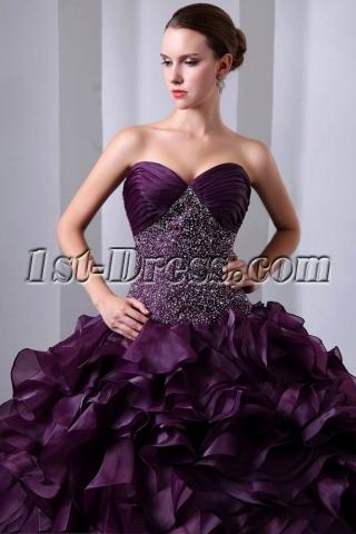 Dark Grape Beaded Sweetheart Pretty Organza festa de quinze anos Dresses