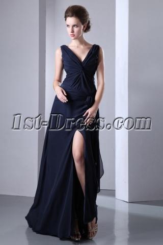 Dark Navy Slit Chiffon Long Evening Dress 2013 with V-neckline