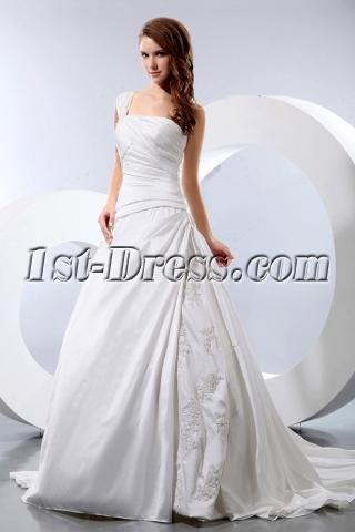 Discount Elegant One Shoulder Taffeta Wedding Dress for Old Women