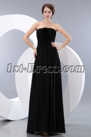 Elegant Black Sweetheart Chiffon Long Ball Gown Dress