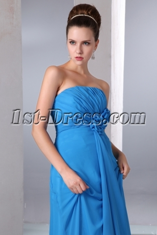 Elegant Blue Chiffon A-line Long Bridesmaid Dresses Strapless