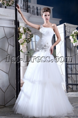 Elegant Drop Waist One Shoulder Outdoor Wedding Dresses for Fall