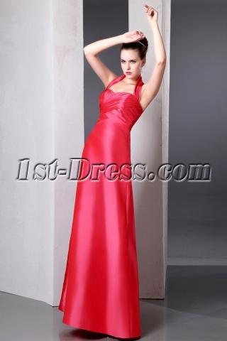 Elegant Inexpensive Coral A-line Long Taffeta Bridesmaid Dresses Halter