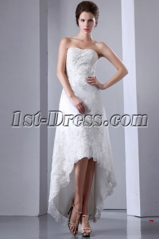 Elegant Lace High-low Outdoor Wedding Gown